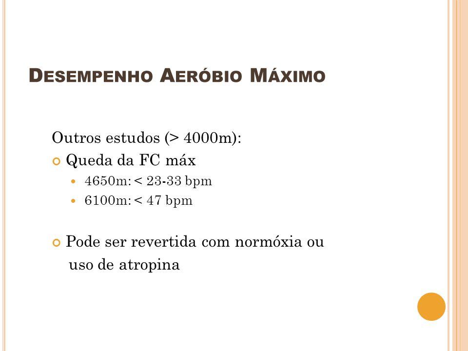 D ESEMPENHO A ERÓBIO M ÁXIMO Outros estudos (> 4000m): Queda da FC máx 4650m: < 23-33 bpm 6100m: < 47 bpm Pode ser revertida com normóxia ou uso de at