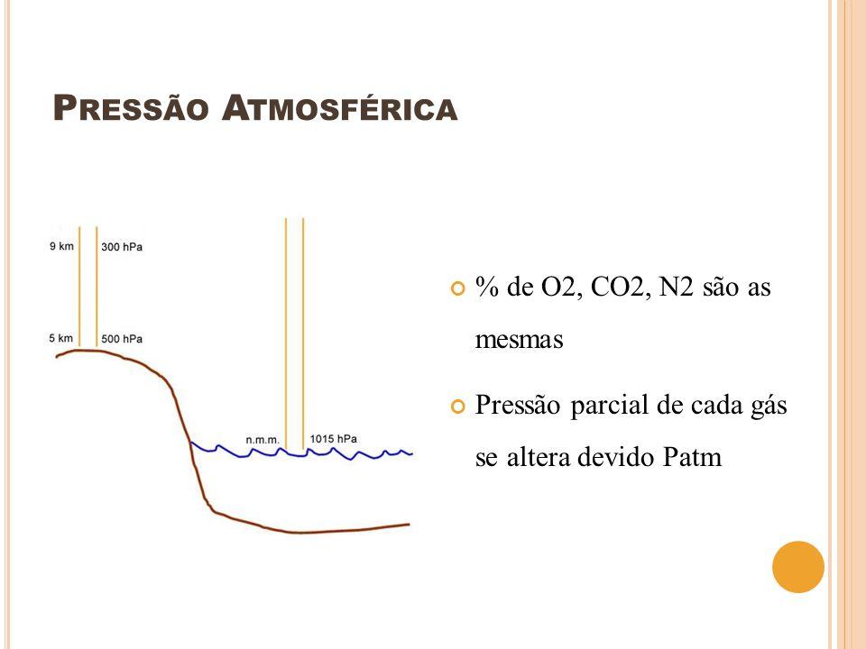 P RESSÃO A TMOSFÉRICA % de O2, CO2, N2 são as mesmas Pressão parcial de cada gás se altera devido Patm