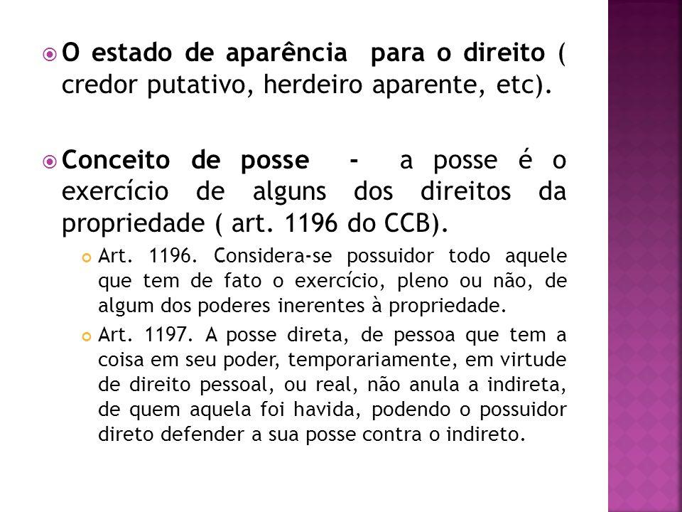 O estado de aparência para o direito ( credor putativo, herdeiro aparente, etc). Conceito de posse - a posse é o exercício de alguns dos direitos da p
