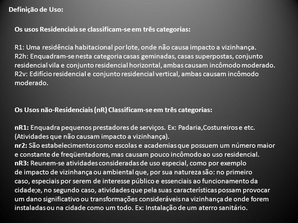 Definição de Uso: Os usos Residenciais se classificam-se em três categorias: R1: Uma residência habitacional por lote, onde não causa impacto a vizinh