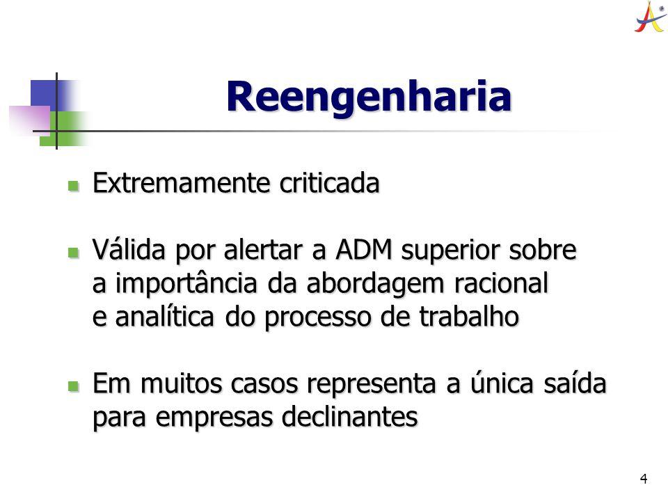 4 Reengenharia Extremamente criticada Extremamente criticada Válida por alertar a ADM superior sobre a importância da abordagem racional e analítica d