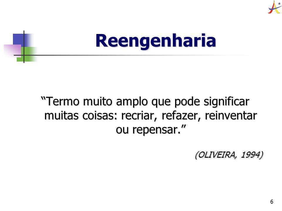 6 Reengenharia Termo muito amplo que pode significar muitas coisas: recriar, refazer, reinventar ou repensar. (OLIVEIRA, 1994)