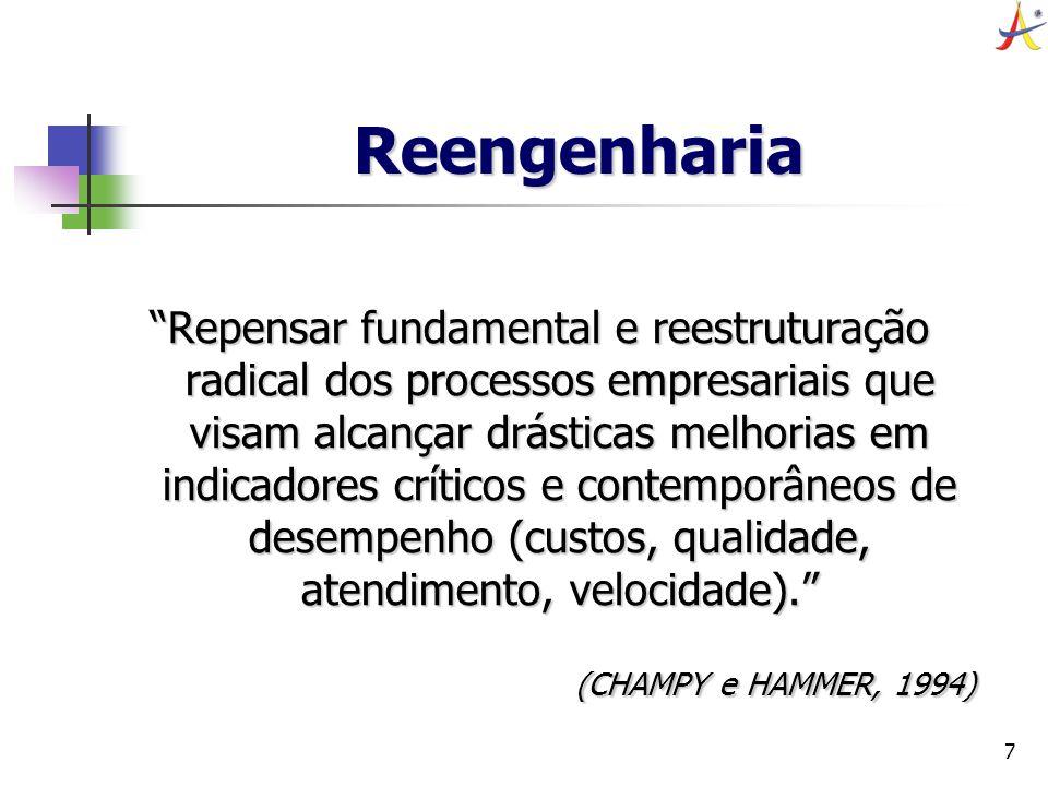 7 Reengenharia Repensar fundamental e reestruturação radical dos processos empresariais que visam alcançar drásticas melhorias em indicadores críticos