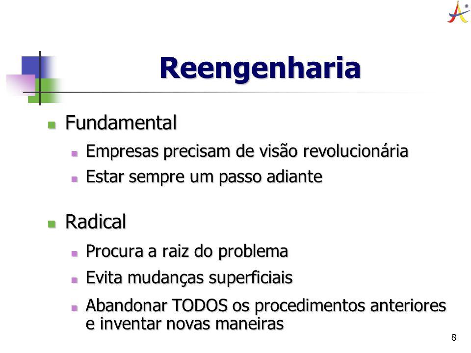 8 Reengenharia Fundamental Fundamental Empresas precisam de visão revolucionária Empresas precisam de visão revolucionária Estar sempre um passo adian