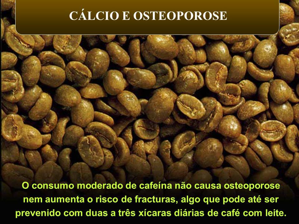 O consumo moderado de cafeína não causa osteoporose nem aumenta o risco de fracturas, algo que pode até ser prevenido com duas a três xícaras diárias