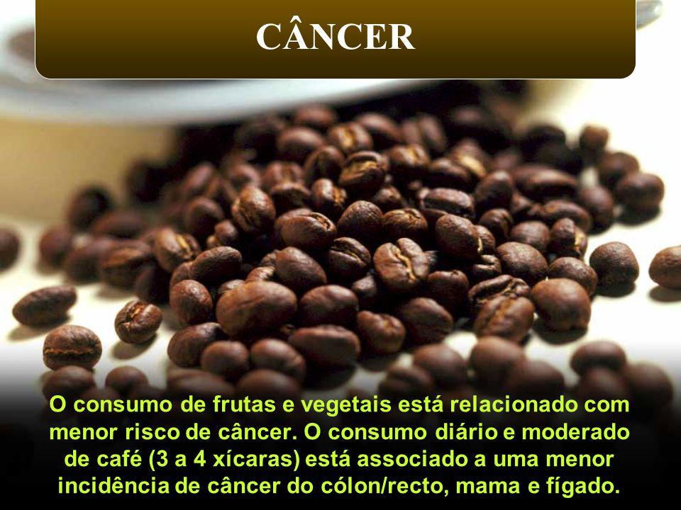CÂNCER O consumo de frutas e vegetais está relacionado com menor risco de câncer. O consumo diário e moderado de café (3 a 4 xícaras) está associado a