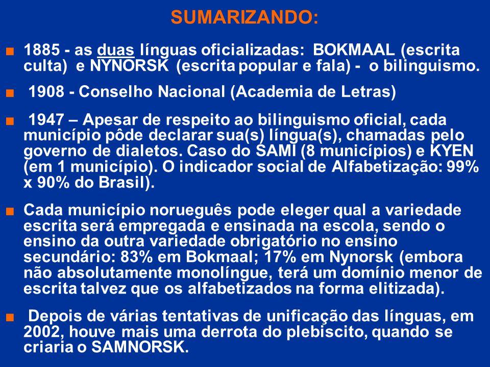 SUMARIZANDO: 1885 - as duas línguas oficializadas: BOKMAAL (escrita culta) e NYNORSK (escrita popular e fala) - o bilinguismo. 1908 - Conselho Naciona