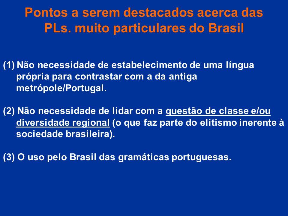 Pontos a serem destacados acerca das PLs. muito particulares do Brasil (1) Não necessidade de estabelecimento de uma língua própria para contrastar co