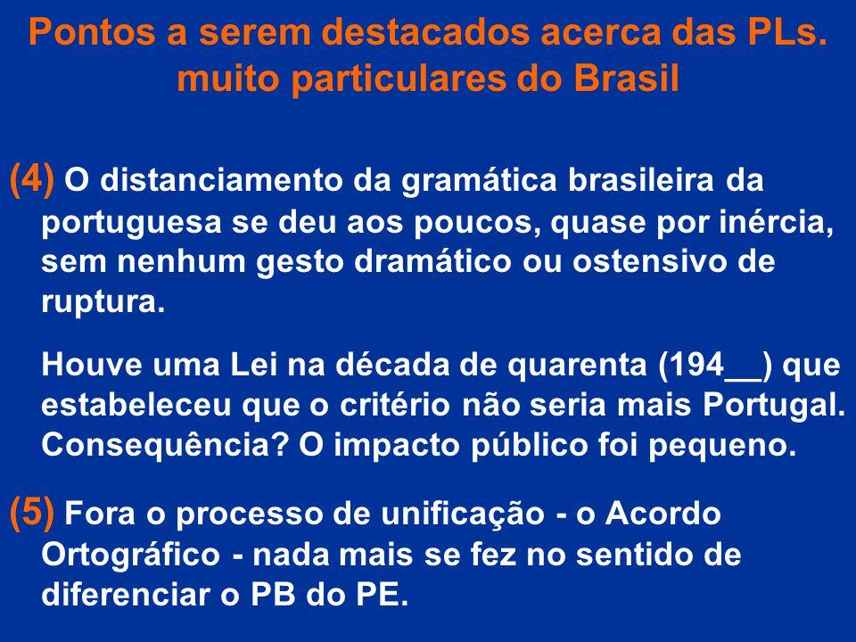 Pontos a serem destacados acerca das PLs. muito particulares do Brasil (4) O distanciamento da gramática brasileira da portuguesa se deu aos poucos, q
