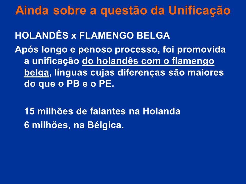 Ainda sobre a questão da Unificação HOLANDÊS x FLAMENGO BELGA Após longo e penoso processo, foi promovida a unificação do holandês com o flamengo belg