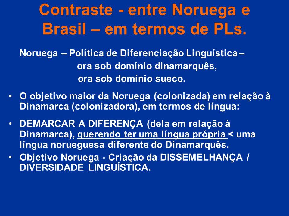 Contraste - entre Noruega e Brasil – em termos de PLs. Noruega – Política de Diferenciação Linguística – ora sob domínio dinamarquês, ora sob domínio