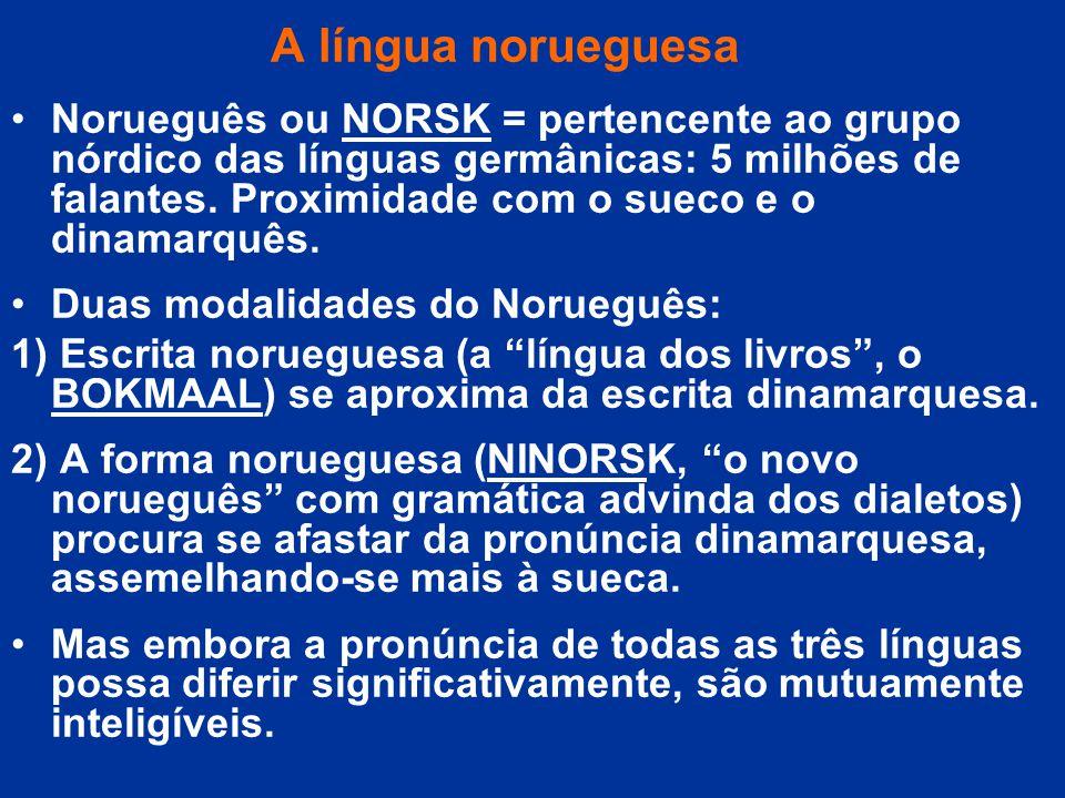 A língua norueguesa Norueguês ou NORSK = pertencente ao grupo nórdico das línguas germânicas: 5 milhões de falantes. Proximidade com o sueco e o dinam