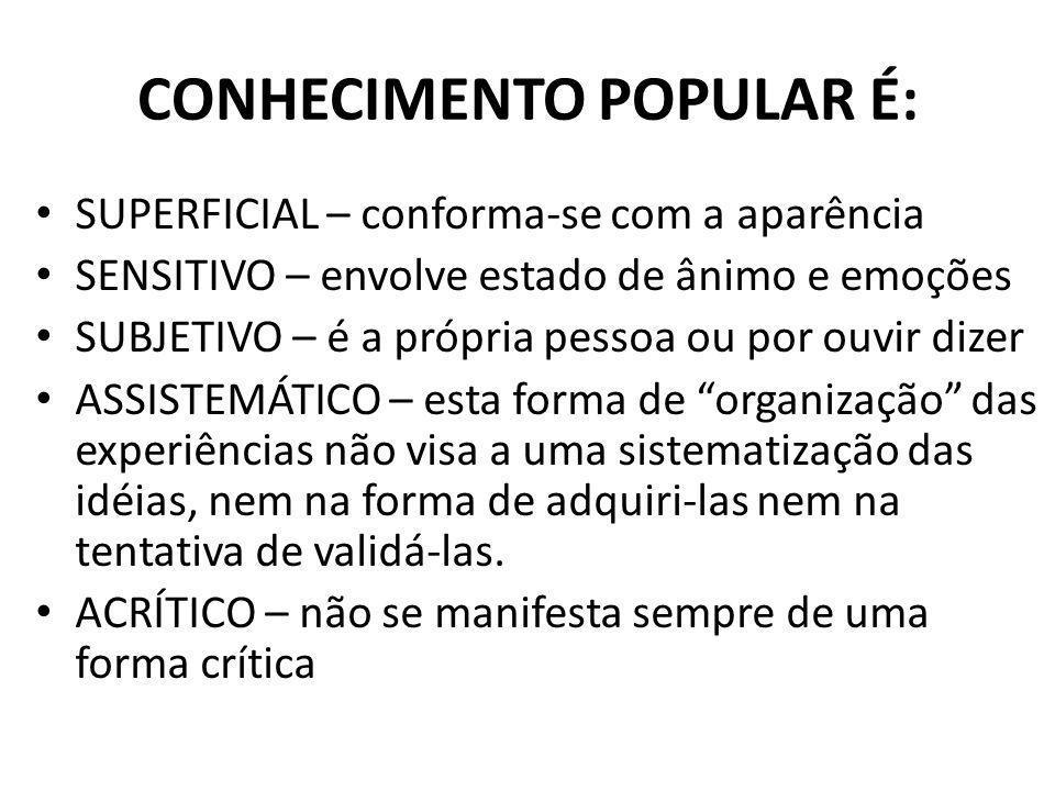 OS QUATRO TIPOS DE CONHECIMENTO POPULAR FILOSÓFICO RELIGIOSO CIENTÍFICO