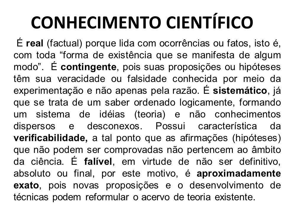 CONHECIMENTO CIENTÍFICO FACTUAL: Relativo a, ou que se baseia em fato(s) CONTIGENTE: Que pode ou não suceder; eventual, incerto: & Que, entre muitos, compete a cada um.