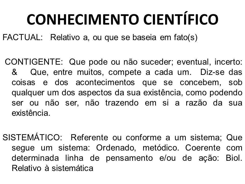 CONHECIMENTO CIENTÍFICO FACTUAL: Relativo a, ou que se baseia em fato(s) CONTIGENTE: Que pode ou não suceder; eventual, incerto: & Que, entre muitos,
