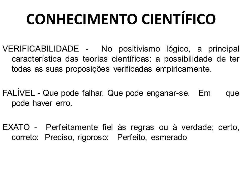 CONHECIMENTO CIENTÍFICO VERIFICABILIDADE - No positivismo lógico, a principal característica das teorias científicas: a possibilidade de ter todas as