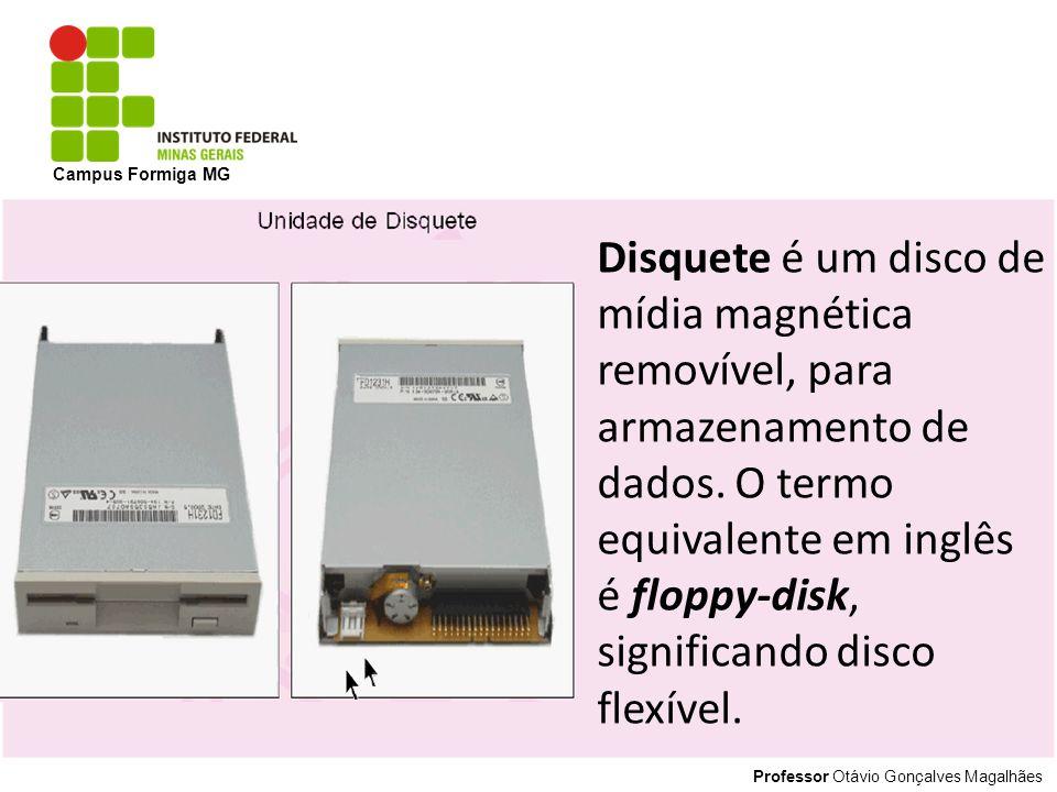 Professor Otávio Gonçalves Magalhães Campus Formiga MG Disquete é um disco de mídia magnética removível, para armazenamento de dados. O termo equivale