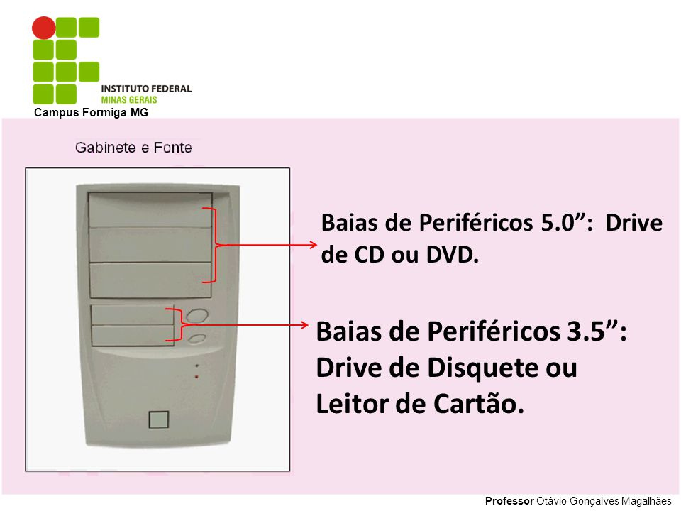 Professor Otávio Gonçalves Magalhães Campus Formiga MG Baias de Periféricos 5.0: Drive de CD ou DVD. Baias de Periféricos 3.5: Drive de Disquete ou Le