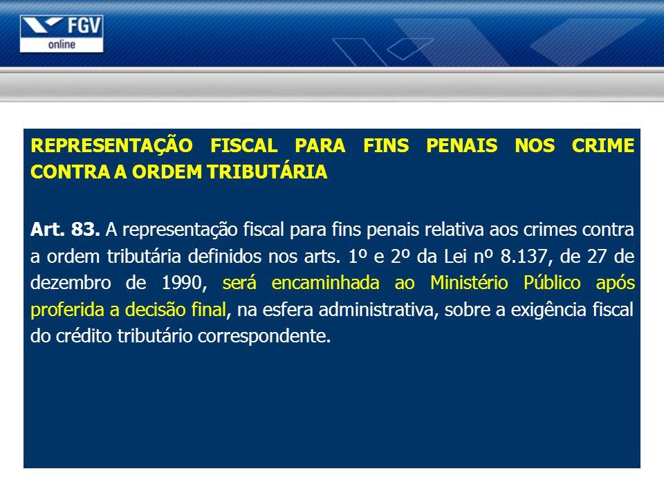 REPRESENTAÇÃO FISCAL PARA FINS PENAIS NOS CRIME CONTRA A ORDEM TRIBUTÁRIA Art. 83. A representação fiscal para fins penais relativa aos crimes contra