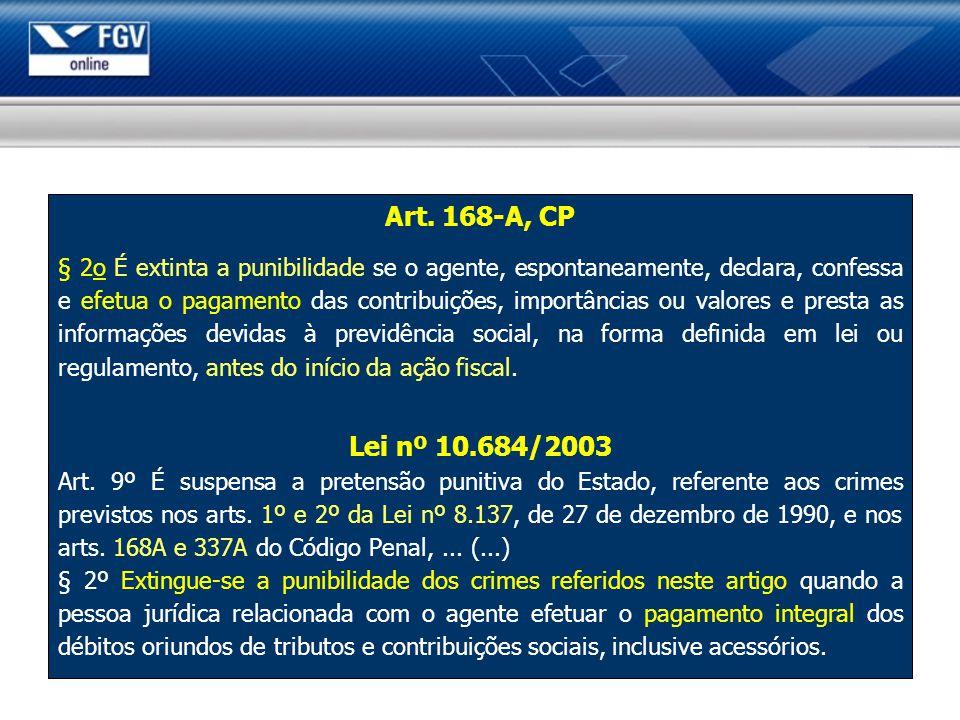Art. 168-A, CP § 2o É extinta a punibilidade se o agente, espontaneamente, declara, confessa e efetua o pagamento das contribuições, importâncias ou v