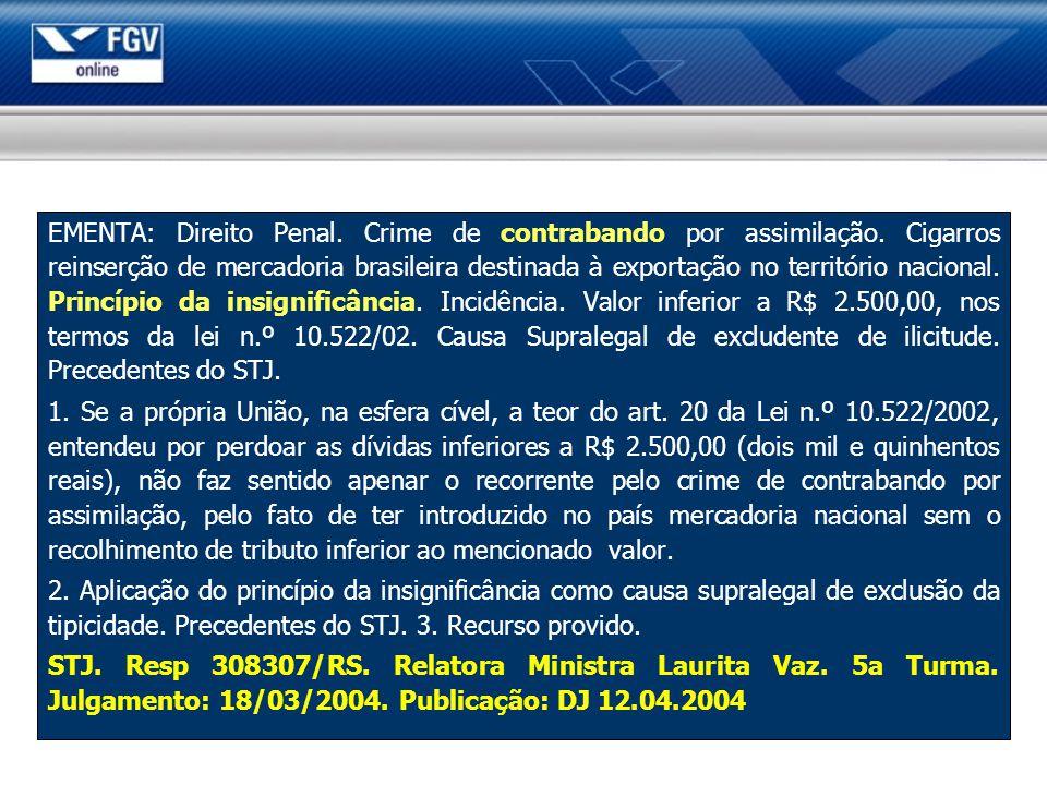 EMENTA: Direito Penal. Crime de contrabando por assimilação. Cigarros reinserção de mercadoria brasileira destinada à exportação no território naciona