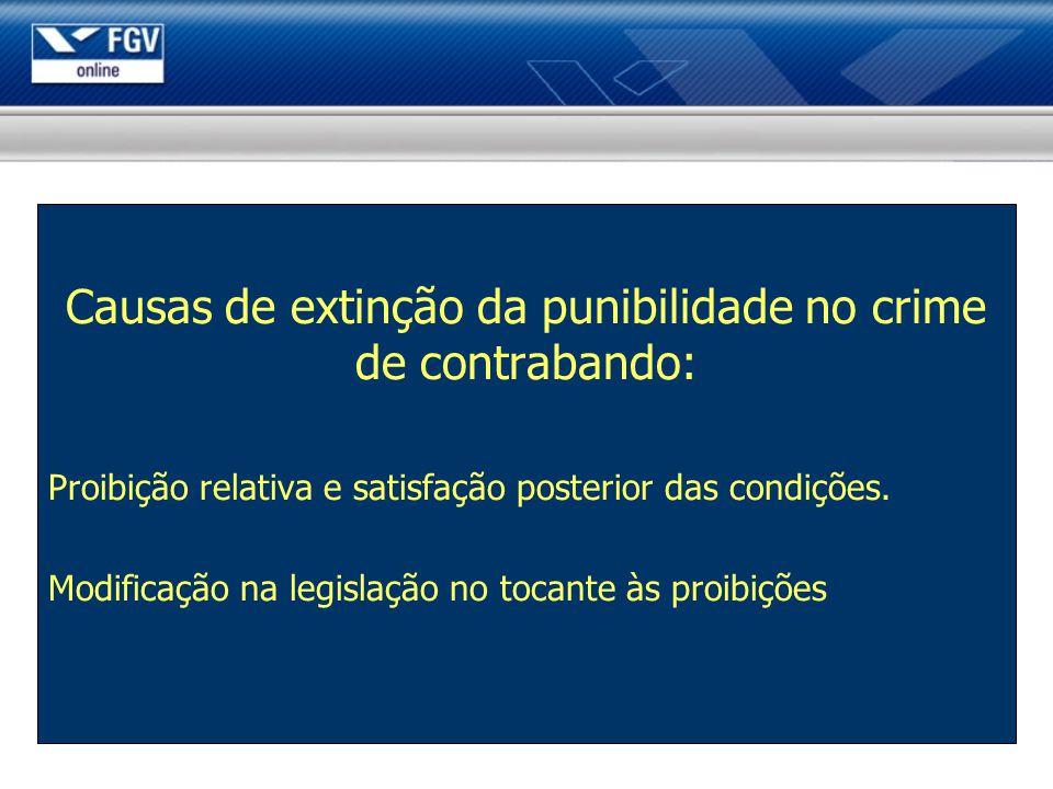 Causas de extinção da punibilidade no crime de contrabando: Proibição relativa e satisfação posterior das condições. Modificação na legislação no toca