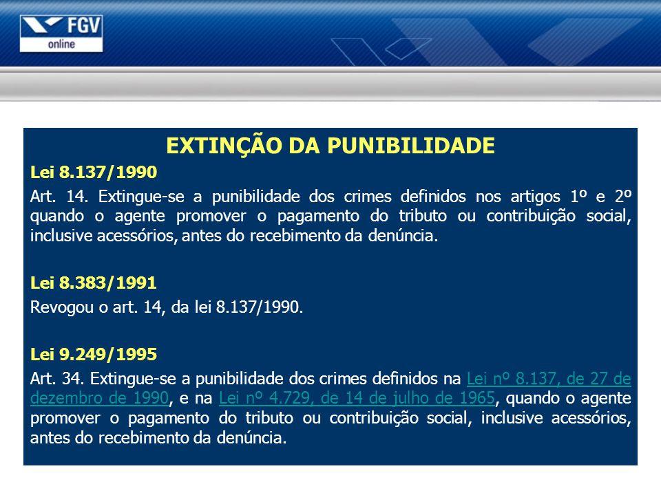 EXTINÇÃO DA PUNIBILIDADE Lei 8.137/1990 Art. 14. Extingue-se a punibilidade dos crimes definidos nos artigos 1º e 2º quando o agente promover o pagame