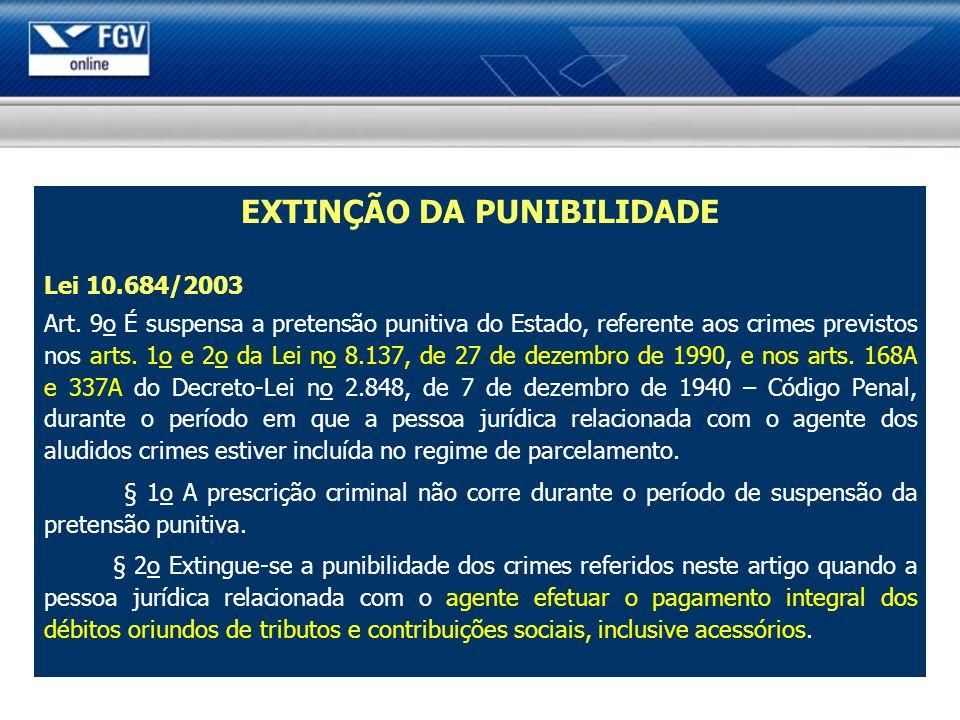 EXTINÇÃO DA PUNIBILIDADE Lei 10.684/2003 Art. 9o É suspensa a pretensão punitiva do Estado, referente aos crimes previstos nos arts. 1o e 2o da Lei no