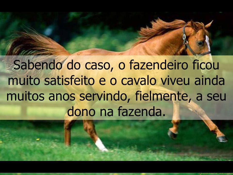 Logo os homens perceberam que o cavalo não se deixava enterrar, mas, ao contrário, estava subindo à medida que a terra enchia o poço, até que, finalmente, conseguir sair