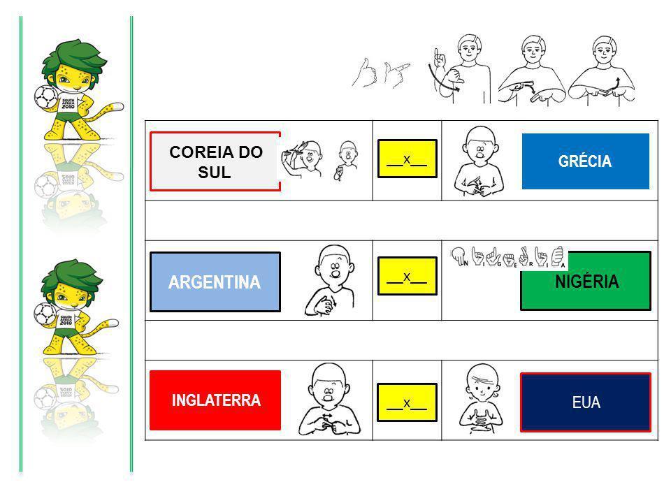 X X X GRÉCIA COREIA DO SUL __x__ ARGENTINA NIGÉRIA INGLATERRA EUA