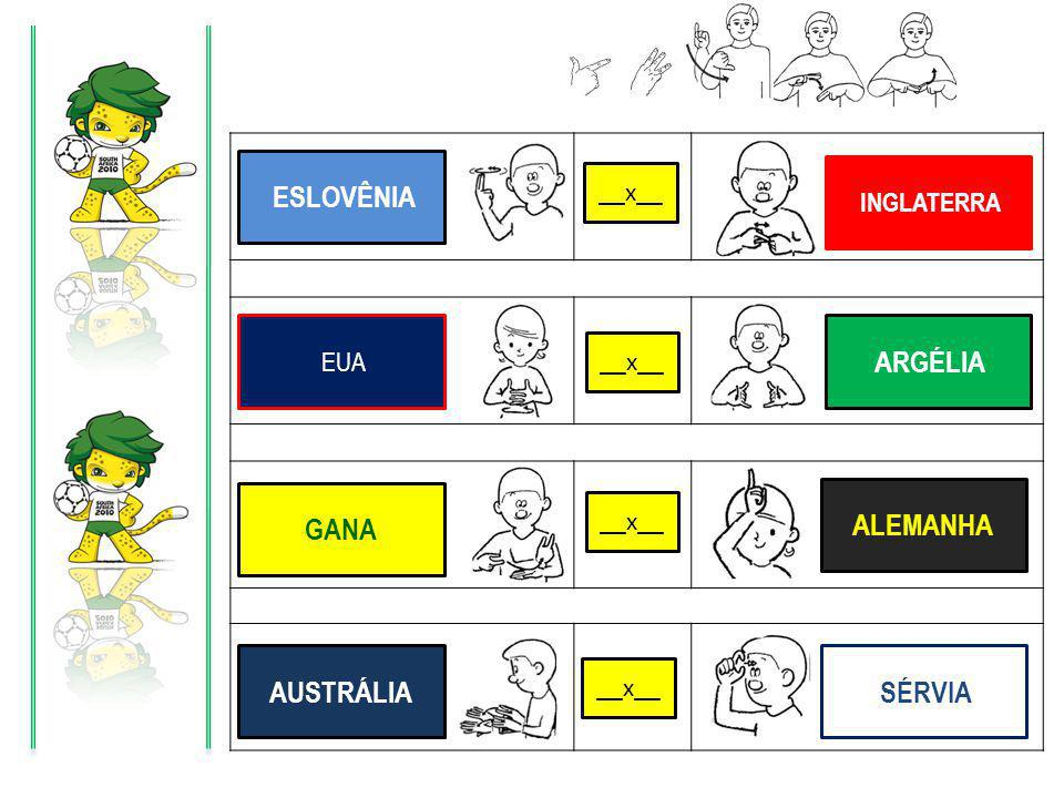X X X X ESLOVÊNIA INGLATERRA EUA ARGÉLIA GANA ALEMANHA AUSTRÁLIA SÉRVIA __x__