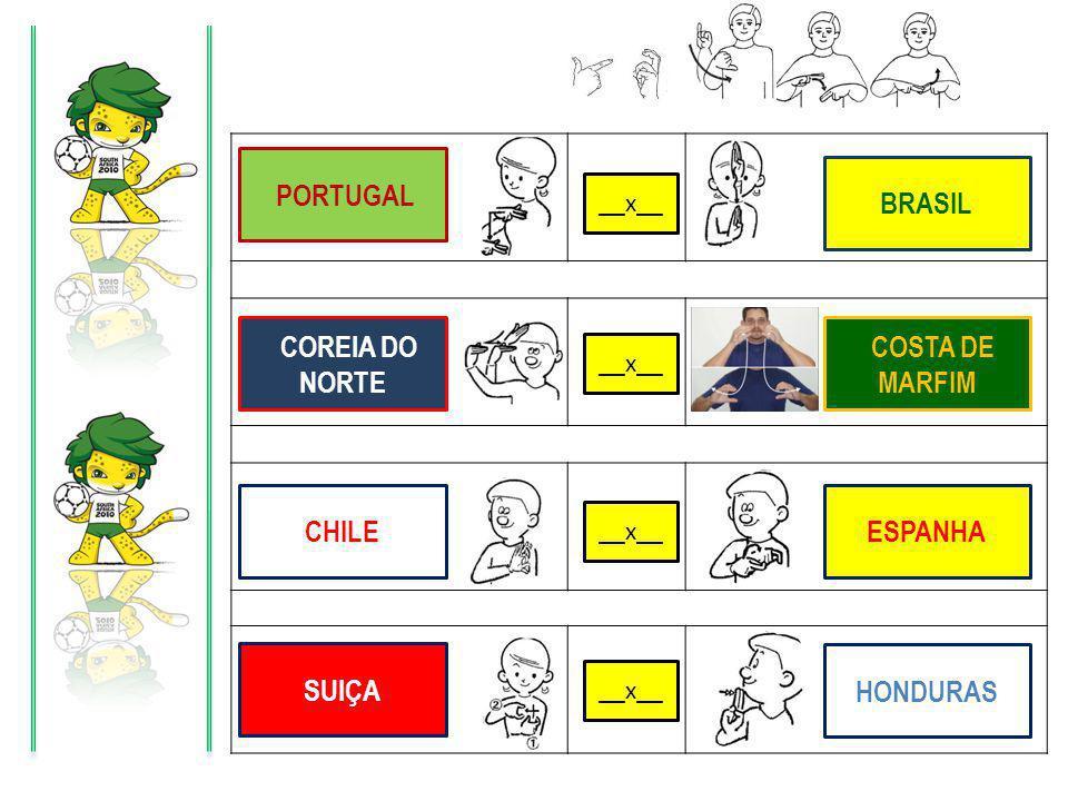 X X X X PORTUGAL BRASIL COSTA DE MARFIM COREIA DO NORTE CHILE ESPANHA SUIÇA HONDURAS __x__