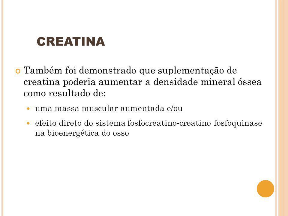 CREATINA Também foi demonstrado que suplementação de creatina poderia aumentar a densidade mineral óssea como resultado de: uma massa muscular aumenta