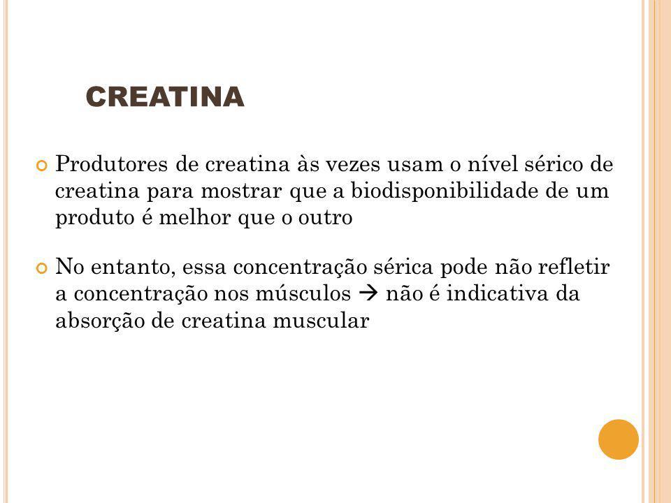 CREATINA Produtores de creatina às vezes usam o nível sérico de creatina para mostrar que a biodisponibilidade de um produto é melhor que o outro No e