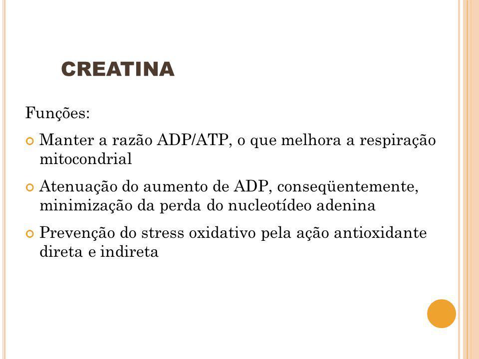 CREATINA Funções: Manter a razão ADP/ATP, o que melhora a respiração mitocondrial Atenuação do aumento de ADP, conseqüentemente, minimização da perda