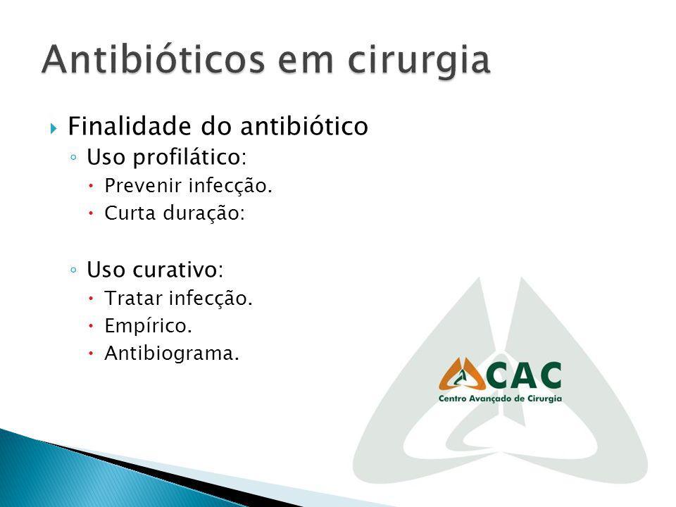 Finalidade do antibiótico Uso profilático: Prevenir infecção. Curta duração: Uso curativo: Tratar infecção. Empírico. Antibiograma.
