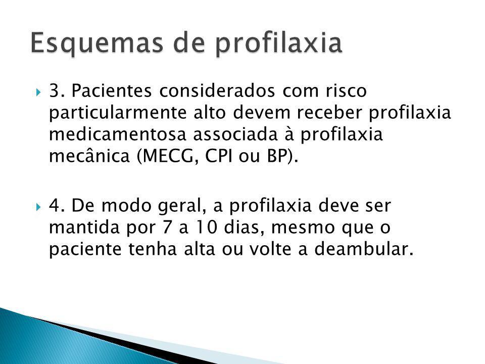 3. Pacientes considerados com risco particularmente alto devem receber profilaxia medicamentosa associada à profilaxia mecânica (MECG, CPI ou BP). 4.