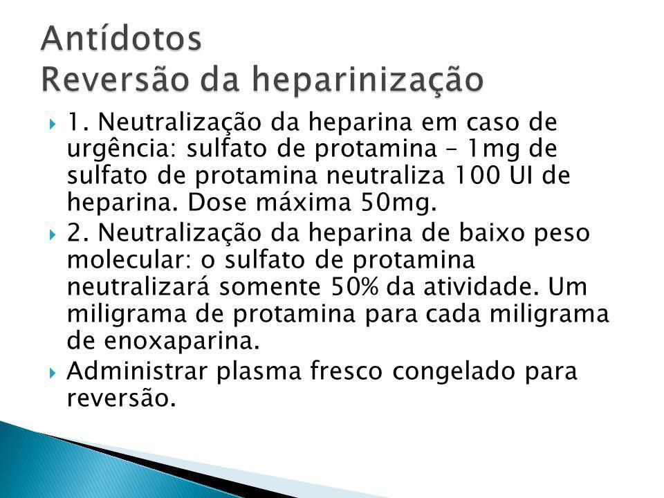 1. Neutralização da heparina em caso de urgência: sulfato de protamina – 1mg de sulfato de protamina neutraliza 100 UI de heparina. Dose máxima 50mg.