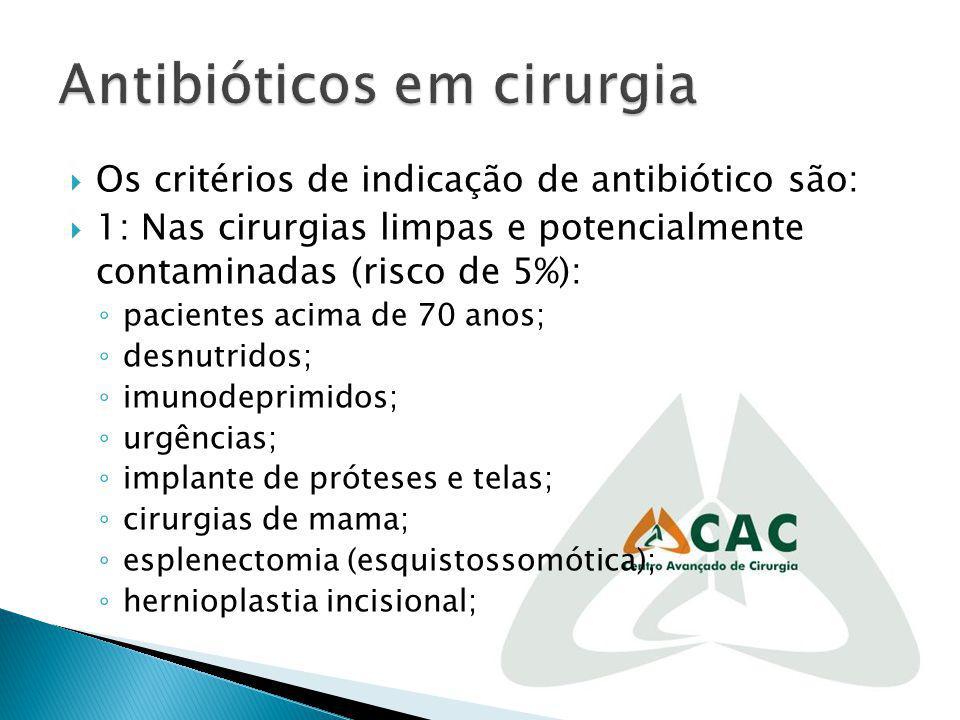 Os critérios de indicação de antibiótico são: 1: Nas cirurgias limpas e potencialmente contaminadas (risco de 5%): pacientes acima de 70 anos; desnutr