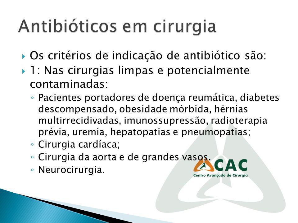 Os critérios de indicação de antibiótico são: 1: Nas cirurgias limpas e potencialmente contaminadas: Pacientes portadores de doença reumática, diabete