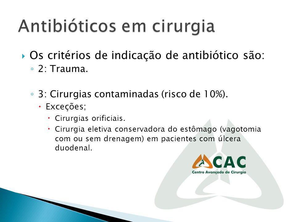 Os critérios de indicação de antibiótico são: 2: Trauma. 3: Cirurgias contaminadas (risco de 10%). Exceções; Cirurgias orificiais. Cirurgia eletiva co