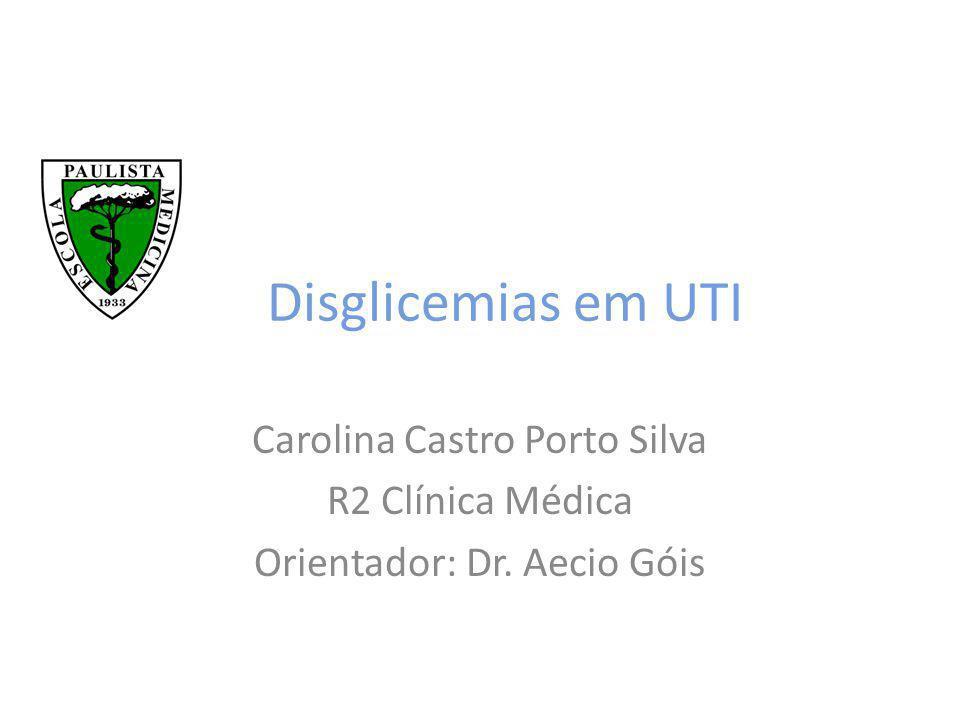 Objetivos da apresentação Contexto atual do controle glicêmico em terapia intensiva e suas controvérsias Tratamento Cetoacidose Diabética Tratamento Estado Hiperglicêmico Hiperosmolar Tratamento da Hipoglicemia