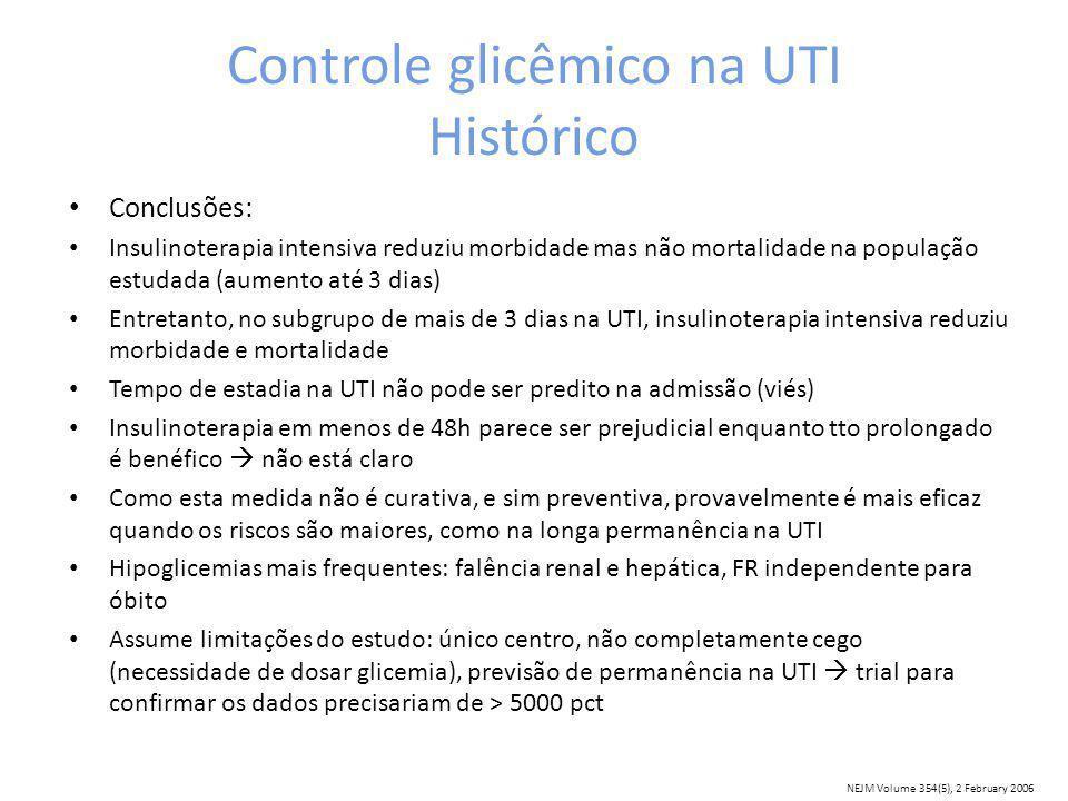 Controle glicêmico na UTI Histórico Conclusões: Insulinoterapia intensiva reduziu morbidade mas não mortalidade na população estudada (aumento até 3 dias) Entretanto, no subgrupo de mais de 3 dias na UTI, insulinoterapia intensiva reduziu morbidade e mortalidade Tempo de estadia na UTI não pode ser predito na admissão (viés) Insulinoterapia em menos de 48h parece ser prejudicial enquanto tto prolongado é benéfico não está claro Como esta medida não é curativa, e sim preventiva, provavelmente é mais eficaz quando os riscos são maiores, como na longa permanência na UTI Hipoglicemias mais frequentes: falência renal e hepática, FR independente para óbito Assume limitações do estudo: único centro, não completamente cego (necessidade de dosar glicemia), previsão de permanência na UTI trial para confirmar os dados precisariam de > 5000 pct NEJM Volume 354(5), 2 February 2006