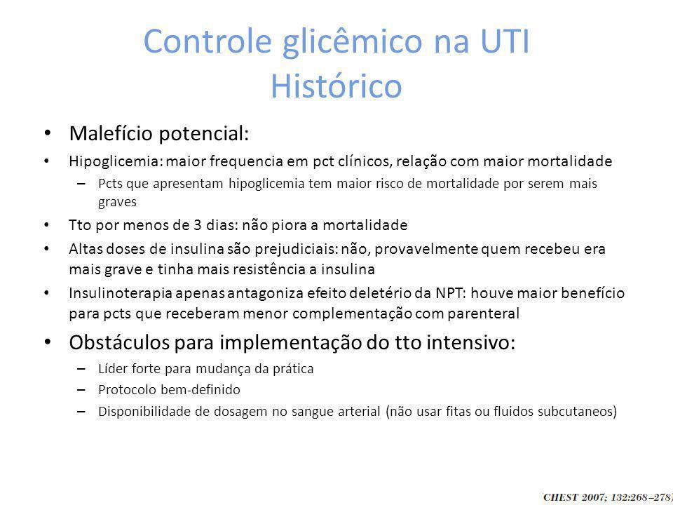 Controle glicêmico na UTI Histórico Malefício potencial: Hipoglicemia: maior frequencia em pct clínicos, relação com maior mortalidade – Pcts que apresentam hipoglicemia tem maior risco de mortalidade por serem mais graves Tto por menos de 3 dias: não piora a mortalidade Altas doses de insulina são prejudiciais: não, provavelmente quem recebeu era mais grave e tinha mais resistência a insulina Insulinoterapia apenas antagoniza efeito deletério da NPT: houve maior benefício para pcts que receberam menor complementação com parenteral Obstáculos para implementação do tto intensivo: – Líder forte para mudança da prática – Protocolo bem-definido – Disponibilidade de dosagem no sangue arterial (não usar fitas ou fluidos subcutaneos)