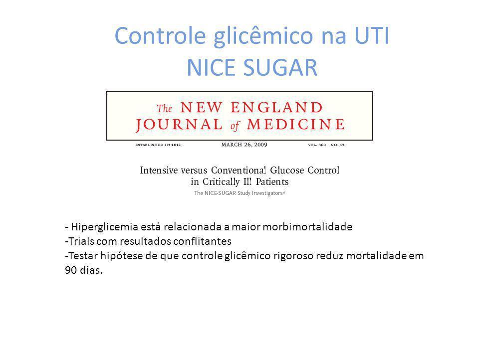 Controle glicêmico na UTI NICE SUGAR - Hiperglicemia está relacionada a maior morbimortalidade -Trials com resultados conflitantes -Testar hipótese de que controle glicêmico rigoroso reduz mortalidade em 90 dias.