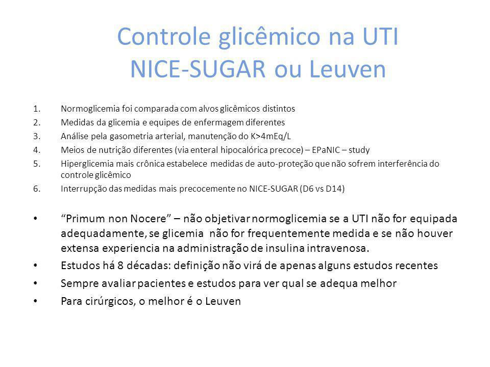 Controle glicêmico na UTI NICE-SUGAR ou Leuven 1.Normoglicemia foi comparada com alvos glicêmicos distintos 2.Medidas da glicemia e equipes de enferma