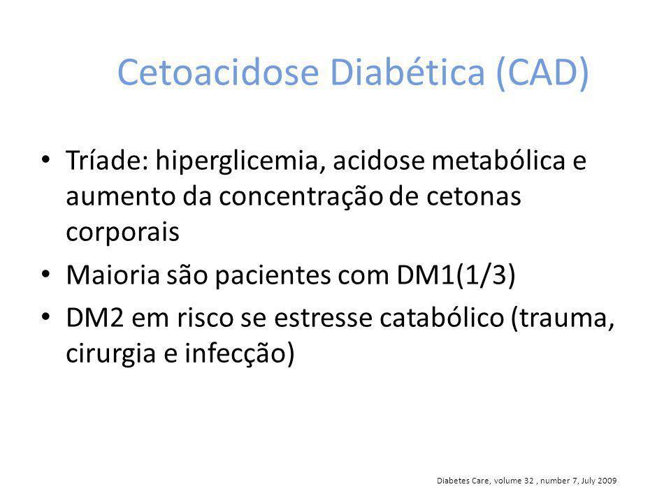 Cetoacidose Diabética (CAD) Tríade: hiperglicemia, acidose metabólica e aumento da concentração de cetonas corporais Maioria são pacientes com DM1(1/3) DM2 em risco se estresse catabólico (trauma, cirurgia e infecção) Diabetes Care, volume 32, number 7, July 2009