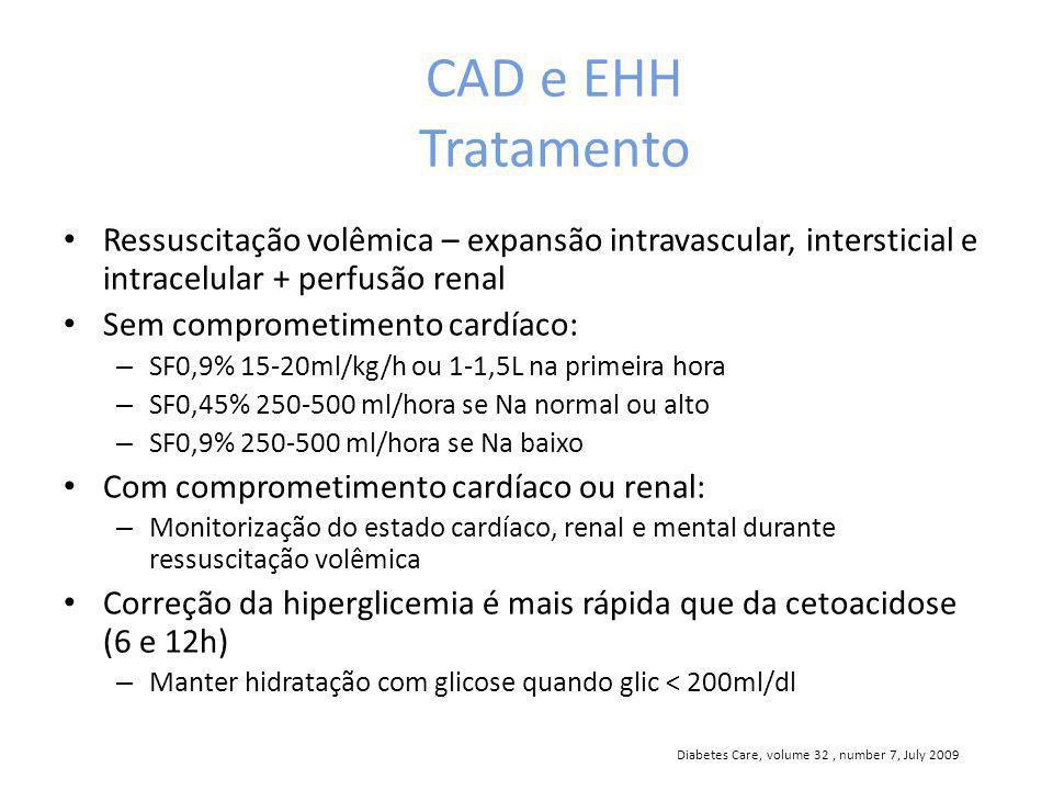 CAD e EHH Tratamento Ressuscitação volêmica – expansão intravascular, intersticial e intracelular + perfusão renal Sem comprometimento cardíaco: – SF0,9% 15-20ml/kg/h ou 1-1,5L na primeira hora – SF0,45% 250-500 ml/hora se Na normal ou alto – SF0,9% 250-500 ml/hora se Na baixo Com comprometimento cardíaco ou renal: – Monitorização do estado cardíaco, renal e mental durante ressuscitação volêmica Correção da hiperglicemia é mais rápida que da cetoacidose (6 e 12h) – Manter hidratação com glicose quando glic < 200ml/dl Diabetes Care, volume 32, number 7, July 2009