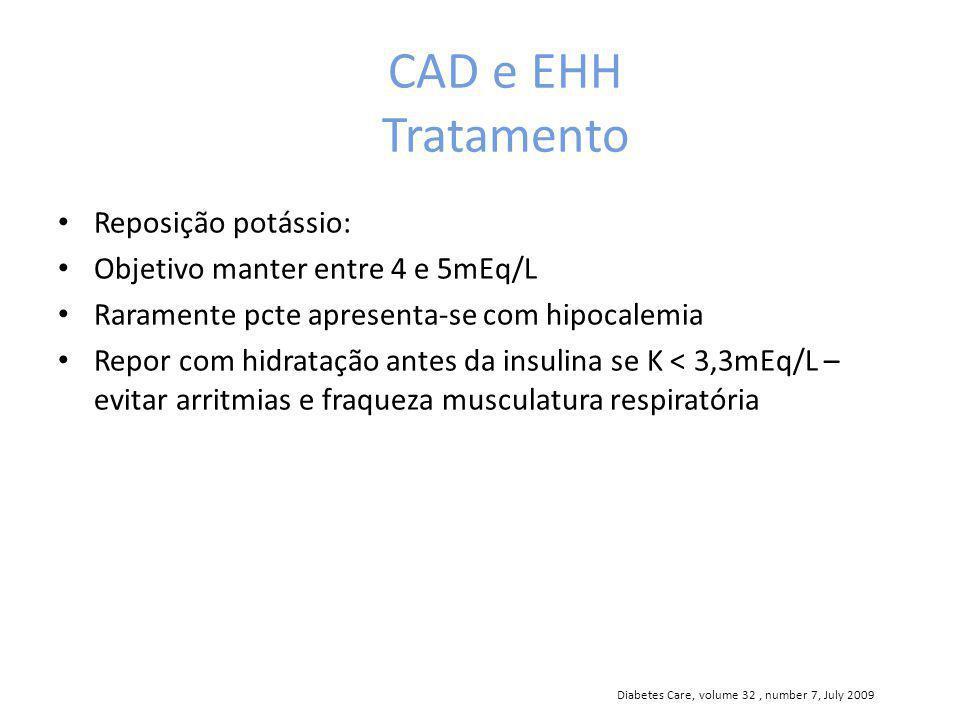CAD e EHH Tratamento Reposição potássio: Objetivo manter entre 4 e 5mEq/L Raramente pcte apresenta-se com hipocalemia Repor com hidratação antes da insulina se K < 3,3mEq/L – evitar arritmias e fraqueza musculatura respiratória Diabetes Care, volume 32, number 7, July 2009