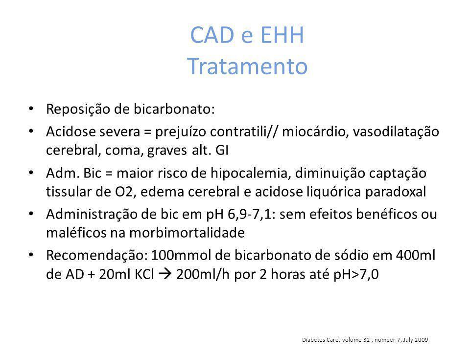 CAD e EHH Tratamento Reposição de bicarbonato: Acidose severa = prejuízo contratili// miocárdio, vasodilatação cerebral, coma, graves alt.